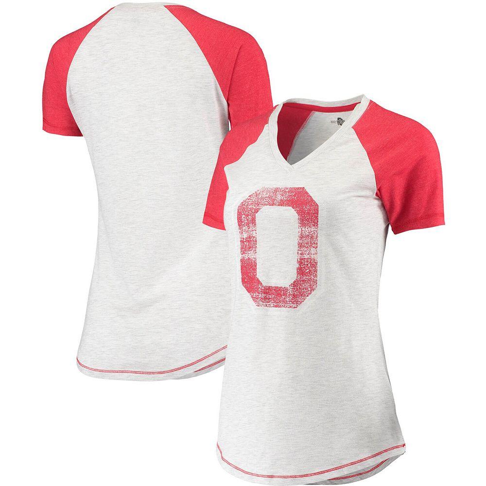 Women's Heathered Gray/Scarlet Ohio State Buckeyes Change Up Vault Raglan V-Neck T-Shirt