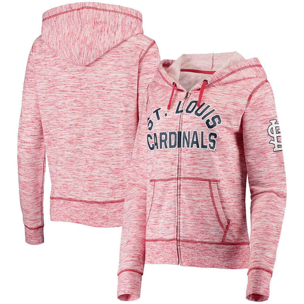 Women's New Era Heathered Red St. Louis Cardinals Space Dye French Terry Full-Zip Hoodie
