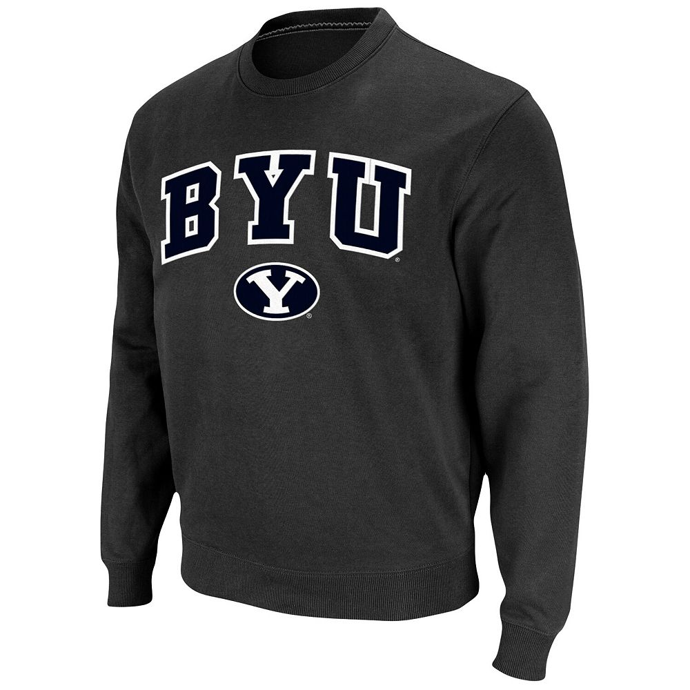 Men's Charcoal BYU Cougars Arch & Logo Pullover Sweatshirt