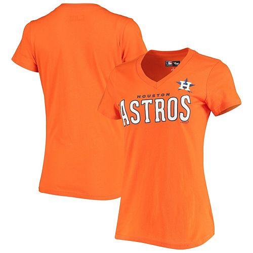 Women's G-III 4Her by Carl Banks Orange Houston Astros Team Logo Game On V-Neck T-Shirt