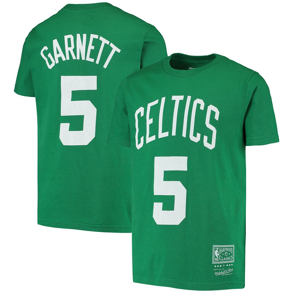 Youth Kevin Garnett Kelly Green Boston Celtics Hardwood Classics Name & Number T-Shirt
