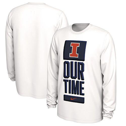 Men's Nike White Illinois Fighting Illini Basketball Our Time Bench Legend Performance Long Sleeve T-Shirt