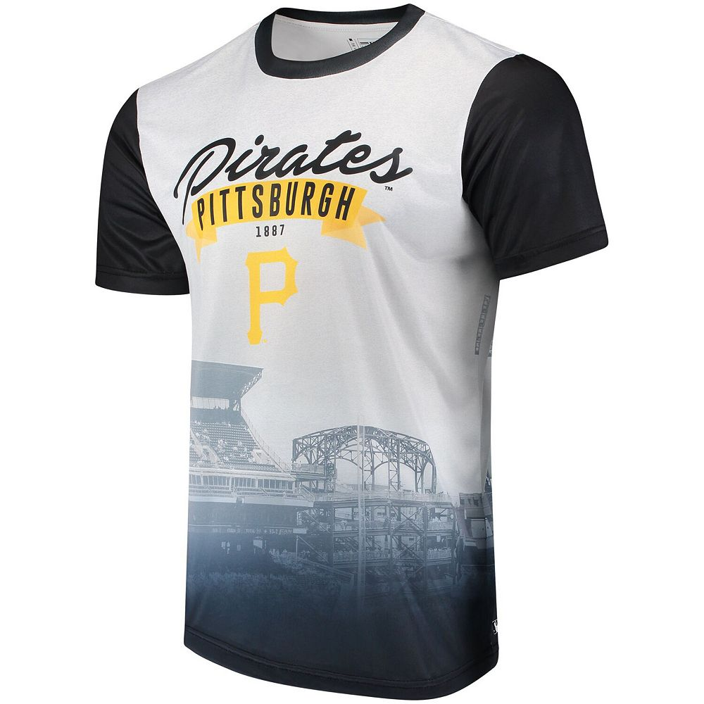 Men's White/Black Pittsburgh Pirates Outfield Photo T-Shirt