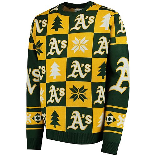 Men's Green Oakland Athletics Patches Ugly Pullover Sweater