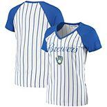 Women's Concepts Sport White/Royal Milwaukee Brewers Vigor Pinstripe T-Shirt