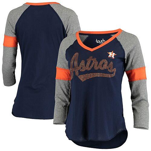 Women's Touch Navy/Gray Houston Astros Fan for Life Raglan V-Neck 3/4-Sleeve T-Shirt