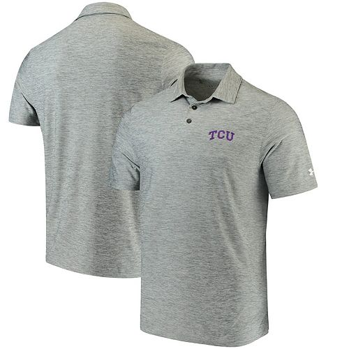 Men's Under Armour Heathered Gray TCU Horned Frogs Collegiate Elevated Performance Polo