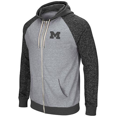 Men's Colosseum Heathered Gray/Heathered Charcoal Michigan Wolverines Regulation Full-Zip Hoodie