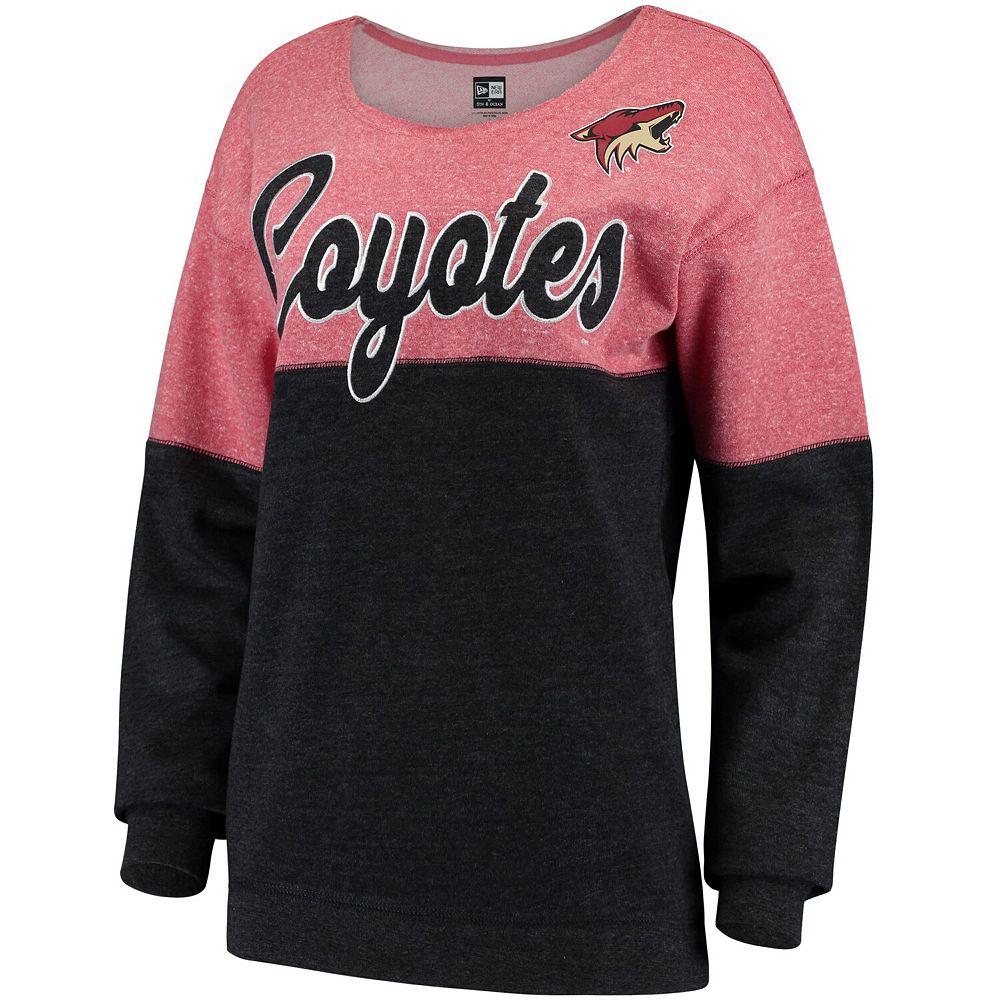 Women's 5th & Ocean by New Era Garnet/Black Arizona Coyotes Tri-Blend Fleece Scoop Neck Pullover Sweatshirt