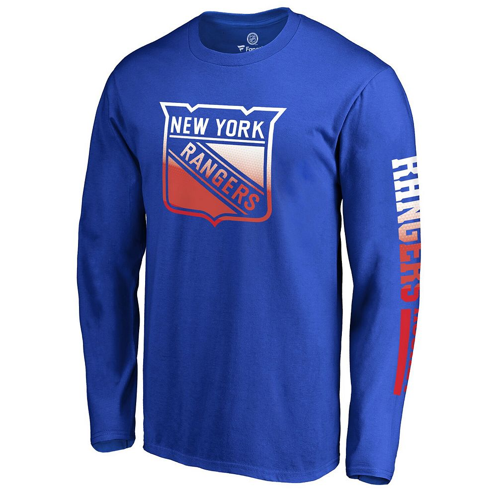 Men's Fanatics Branded Royal New York Rangers Gradient Logo Long Sleeve T-Shirt