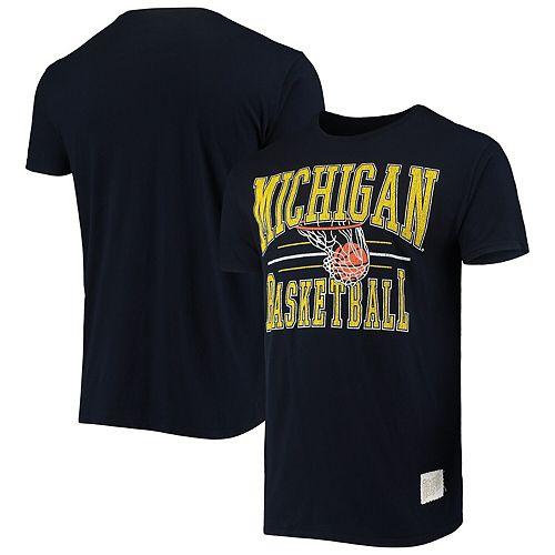 Men's Original Retro Brand Navy Michigan Wolverines Basketball Hoop T-Shirt
