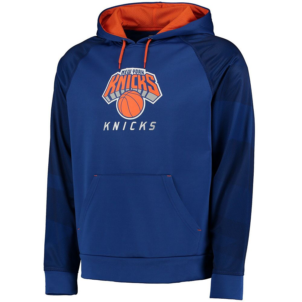 Men's Majestic Royal New York Knicks Armor II Therma Base Raglan Pullover Hoodie