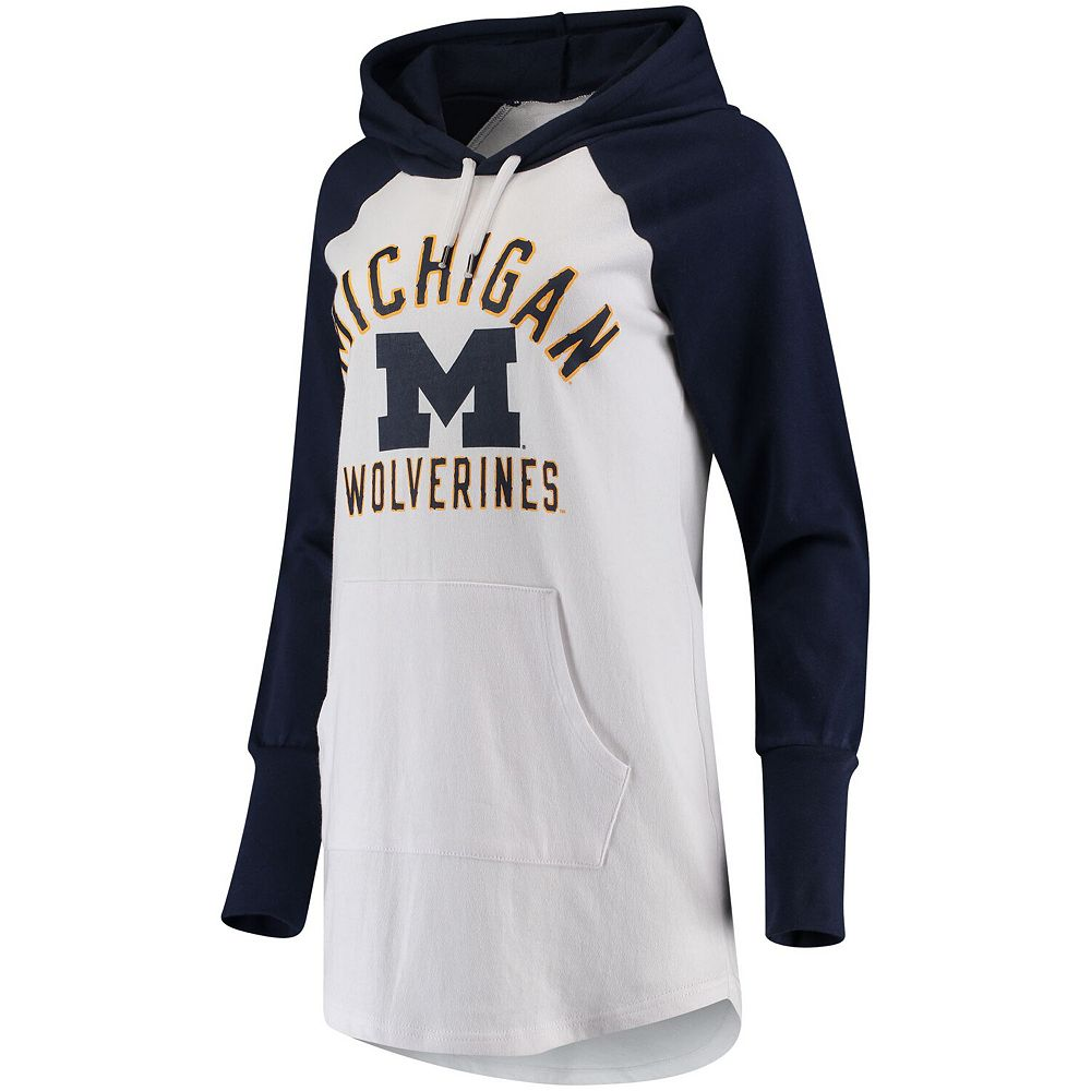 Women's G-III 4Her by Carl Banks White/Navy Michigan Wolverines All Division Pullover Hoodie