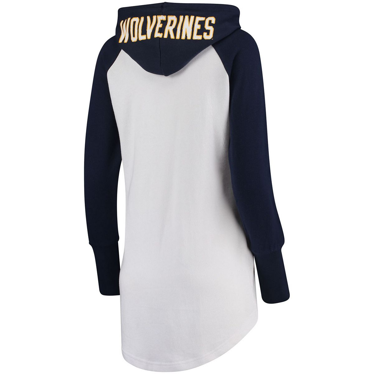Women's G-III 4Her by Carl Banks White/Navy Michigan Wolverines All Division Pullover Hoodie AkBMs