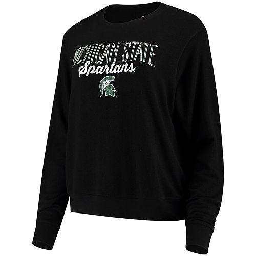 Women's Alta Gracia (Fair Trade) Black Michigan State Spartans Ann Cozy Brushed Hacci Tri-Blend Sweatshirt