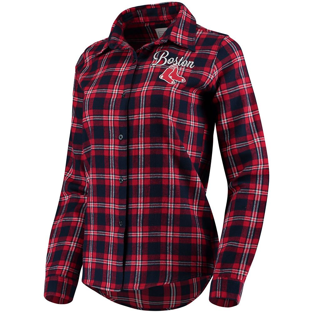 Women's Navy Boston Red Sox Flannel Button-Up Long Sleeve Shirt