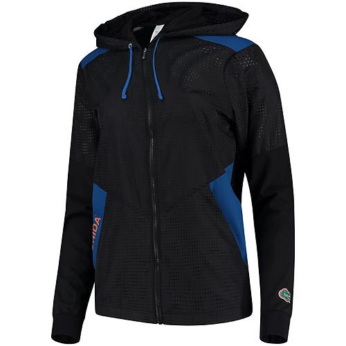 Women's ZooZatz Black Florida Gators Punched Hole Sprint Windbreaker Full-Zip Jacket