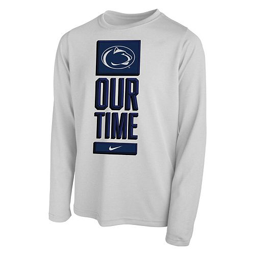 Youth Nike White Penn State Nittany Lions Basketball Our Time Bench Legend Performance Long Sleeve T-Shirt