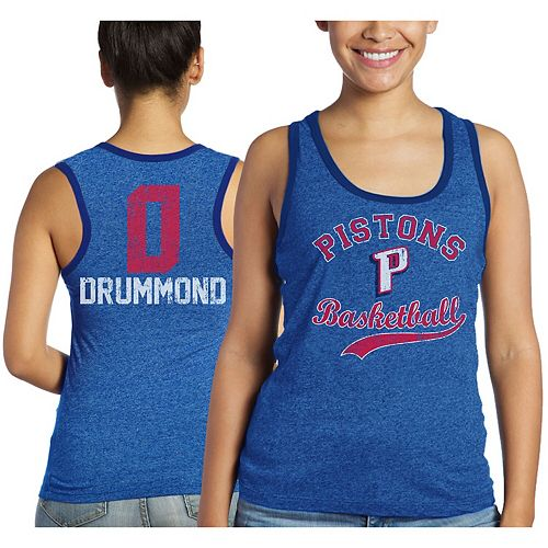 Women's Majestic Threads Andre Drummond Blue Detroit Pistons Name and Number Tri-Blend Tank Top