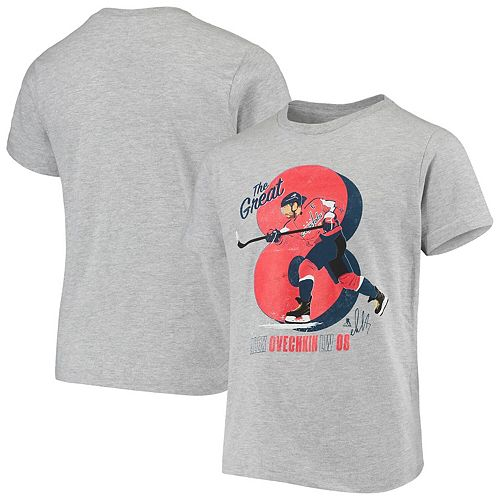 Youth Alexander Ovechkin Heathered Gray Washington Capitals Localized Player T-Shirt