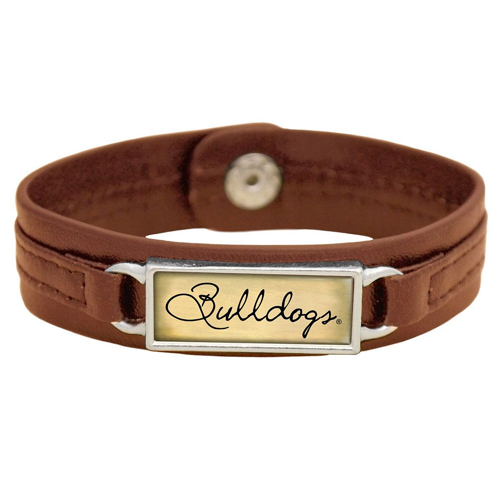 Women's Brown Georgia Bulldogs Sepia Leather Bracelet