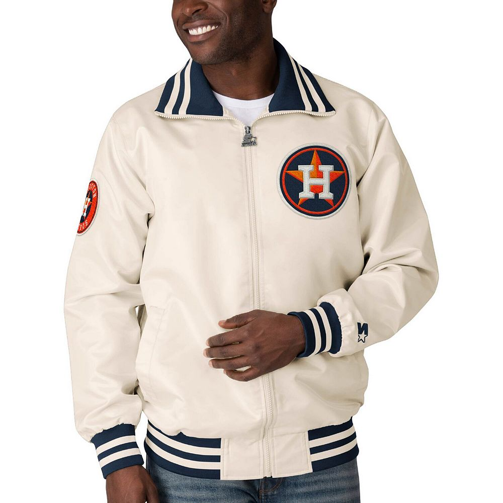 Men's Starter Cream Houston Astros The Captain II Full-Zip Jacket