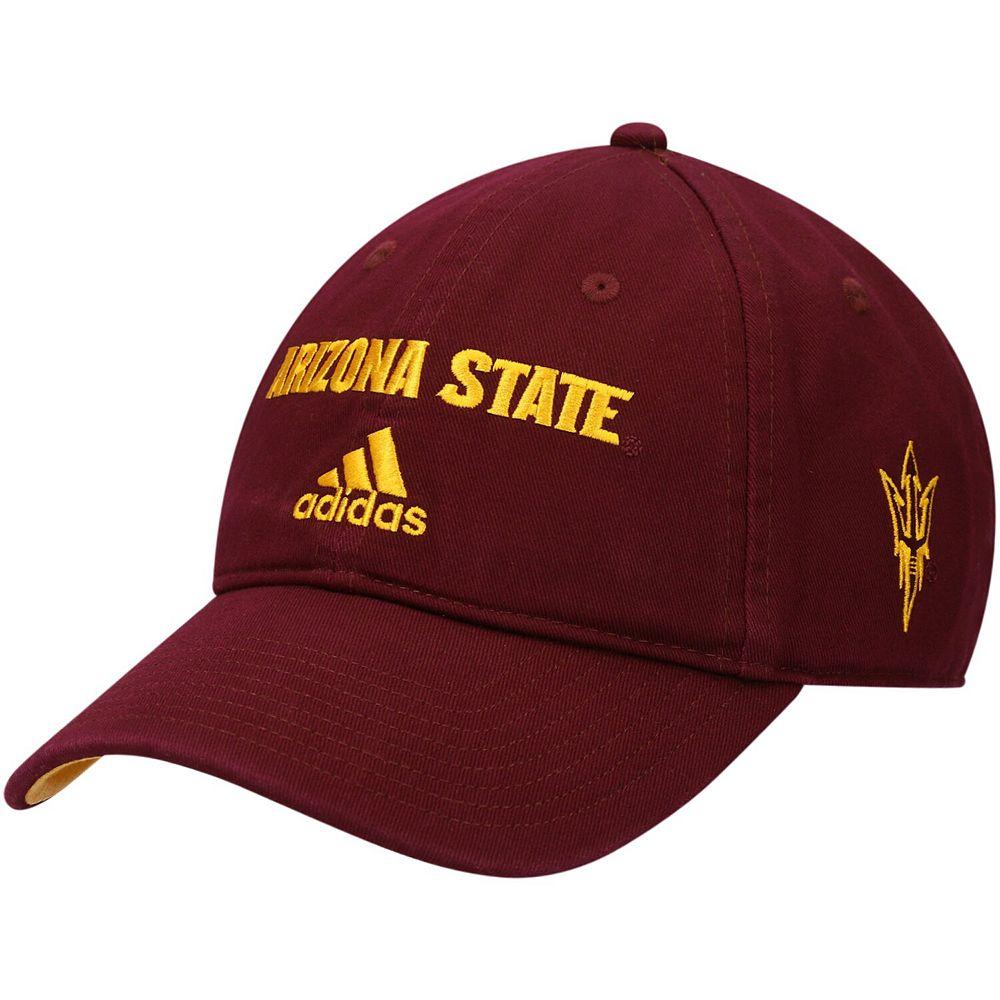 Men's adidas Maroon Arizona State Sun Devils Wordmark Three-Stripe Lockup Adjustable Hat