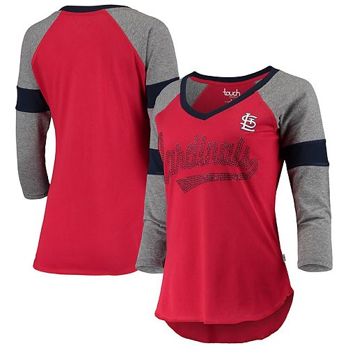 Women's Touch Red/Gray St. Louis Cardinals Fan for Life Raglan V-Neck 3/4-Sleeve T-Shirt