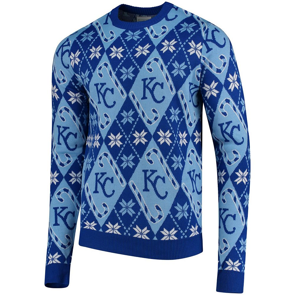 Men's Royal Kansas City Royals Candy Cane Repeat Sweater