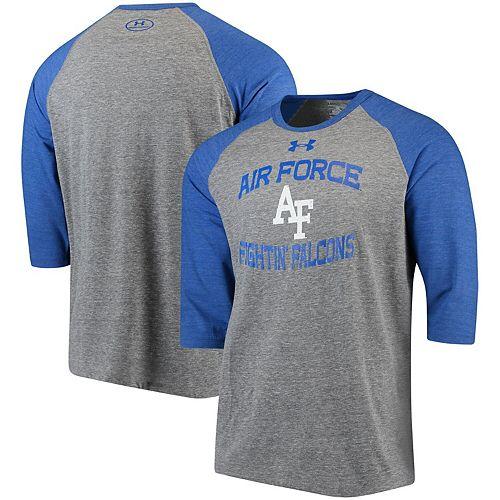 Men's Under Armour Heathered Gray/Royal Air Force Falcons Baseball Performance Tri-Blend 3/4-Sleeve T-Shirt