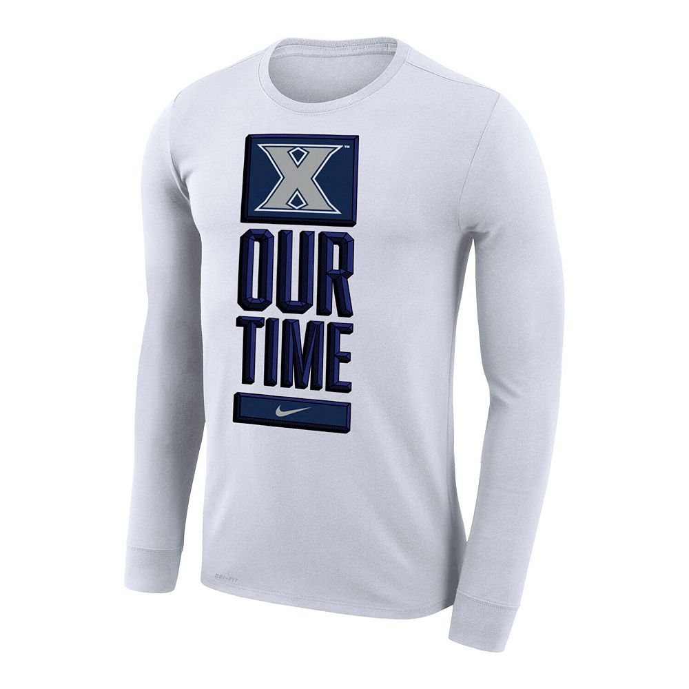 Men's Nike White Xavier Musketeers Basketball Our Time Bench Legend Long Sleeve Performance T-Shirt
