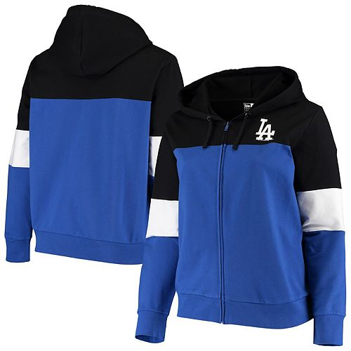 Women's New Era Black/Royal Los Angeles Dodgers Plus Size Colorblock French Terry Full-Zip Hoodie