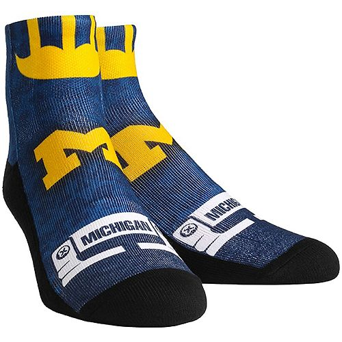 Men's Rock Em Socks Michigan Wolverines Helmet Series Quarter-Length Socks