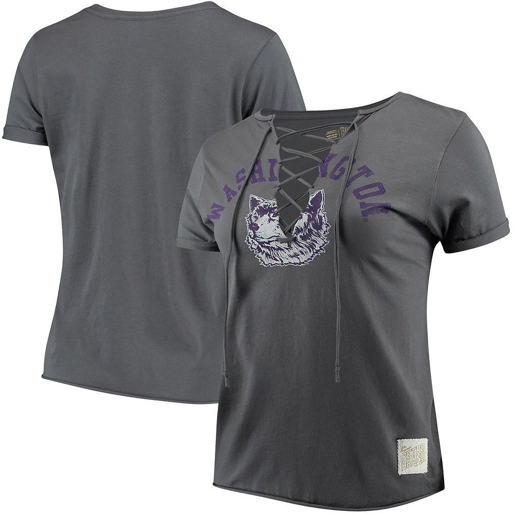 Women's Original Retro Brand Charcoal Washington Huskies Hand-Made Lace-Up T-Shirt