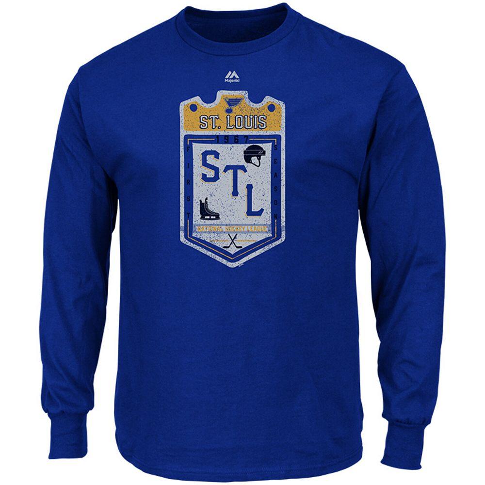 Men's Majestic Blue St. Louis Blues Double Minor Long Sleeve T-Shirt