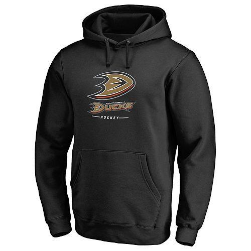Men's Black Anaheim Ducks Team Lockup Pullover Hoodie
