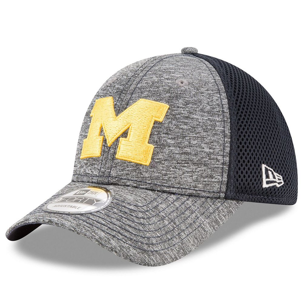 Men's New Era Gray/Navy Michigan Wolverines Shadow Turn 9FORTY Adjustable Hat