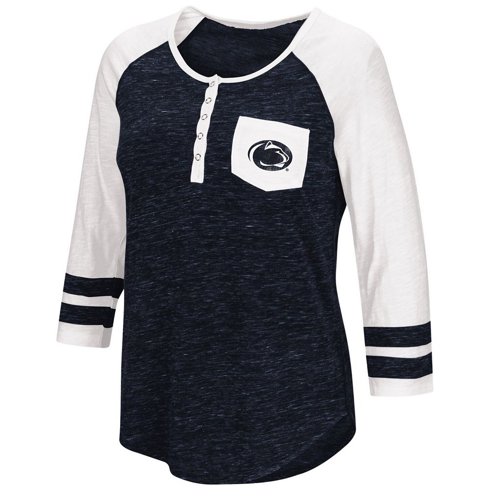 Women's Colosseum Heathered Navy Penn State Nittany Lions Inconceivable! Three-Quarter Sleeve Pocket Henley
