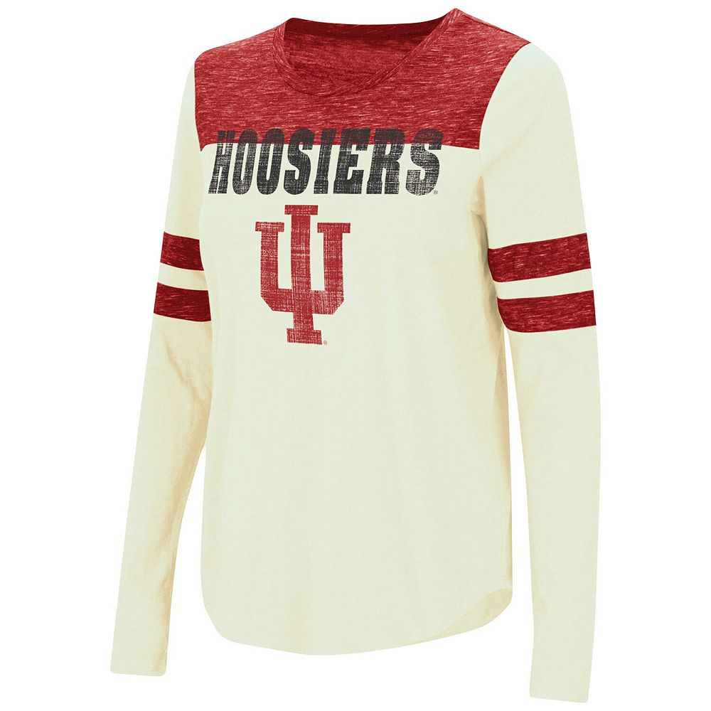 Women's Colosseum White/Crimson Indiana Hoosiers My Way Striped Long Sleeve T-Shirt