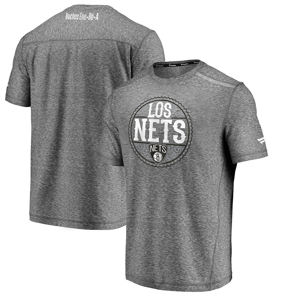 Men's Fanatics Branded Heather Gray Brooklyn Nets Noches Ene-Be-A Clutch Shooting T-Shirt
