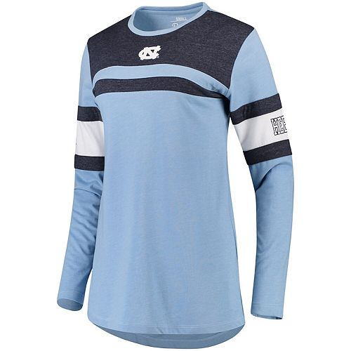 Women's Pressbox Carolina Blue North Carolina Tar Heels La Salle Crew Long Sleeve Number T-Shirt