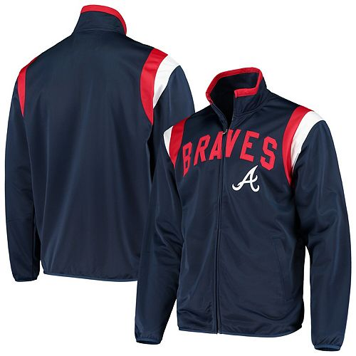 Men's G-III Sports by Carl Banks Navy Atlanta Braves Post Up Full-Zip Track Jacket