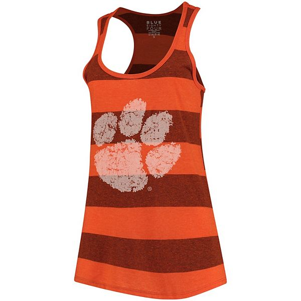 Women's Blue 84 Orange Clemson Tigers Heritage Stripe Tri-Blend Tank Top