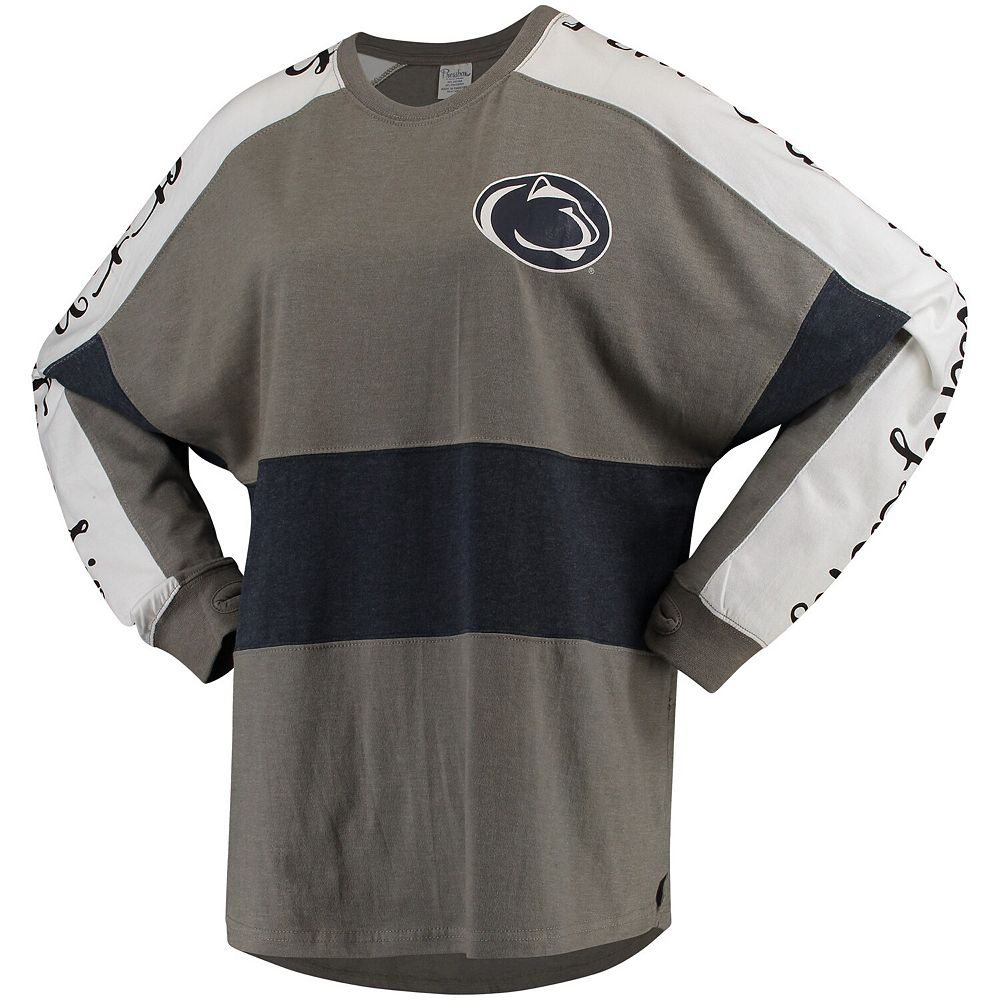 Women's Gray Penn State Nittany Lions Aileron Oversized Long-Sleeve Top