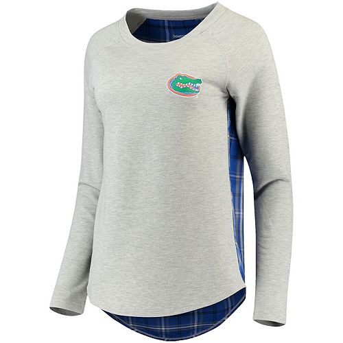 Women's Heathered Gray Florida Gators Team Player Plaid Back Long Sleeve T-Shirt
