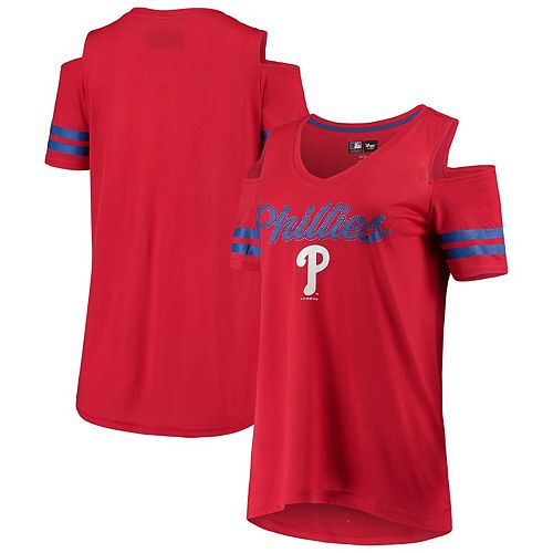Women's G-III 4Her by Carl Banks Red Philadelphia Phillies Extra Inning Cold Shoulder T-Shirt