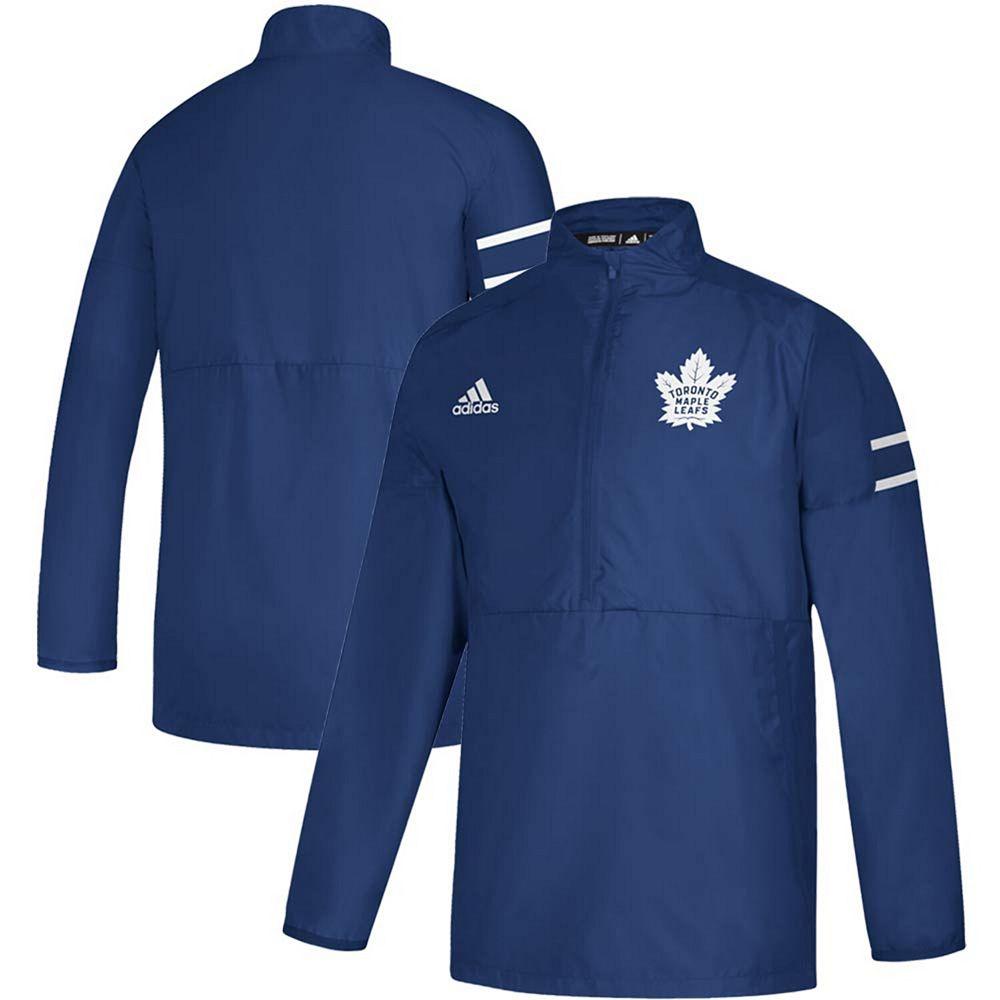 Men's adidas Blue Toronto Maple Leafs Game Mode Quarter-Zip Pullover Jacket