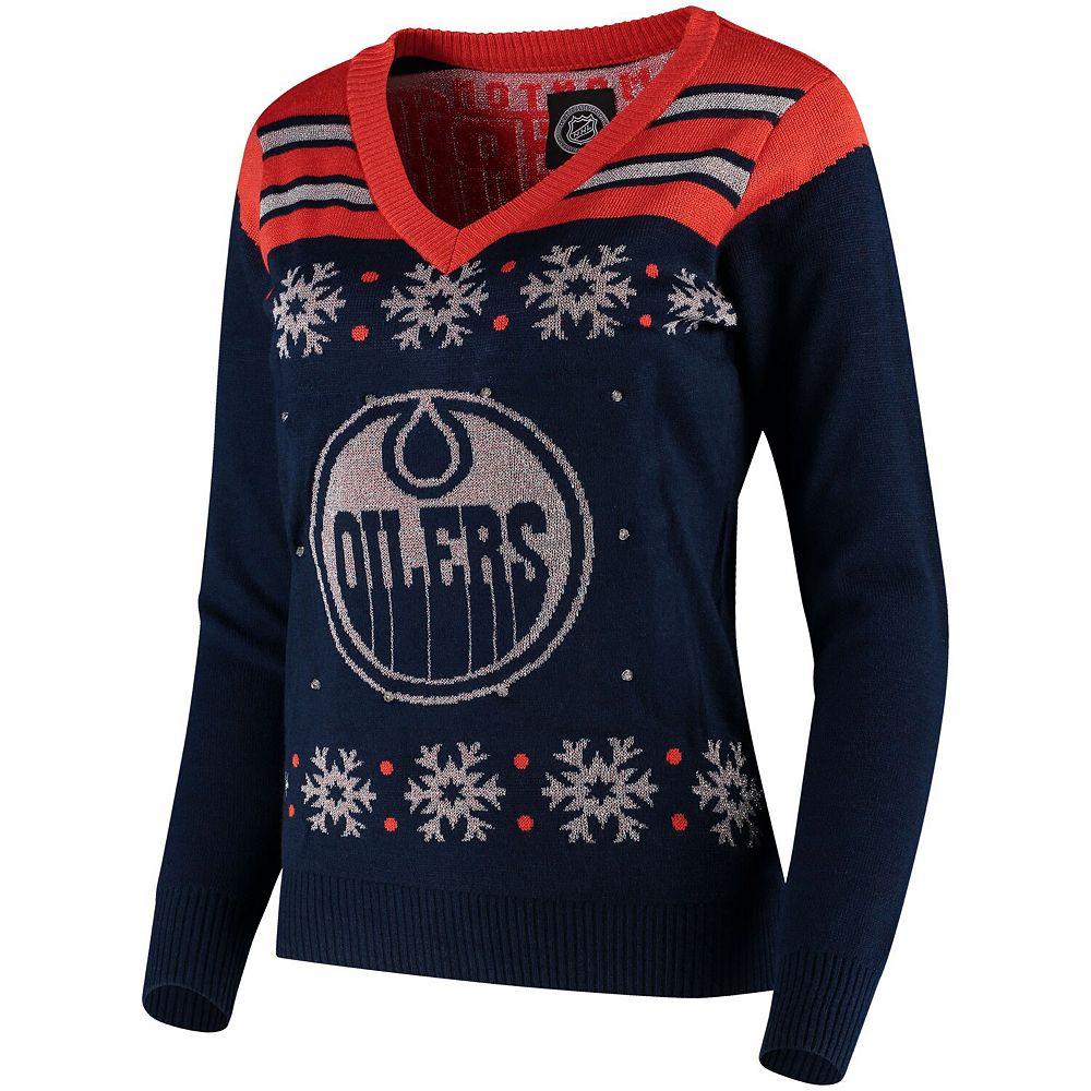 Women's Blue Edmonton Oilers Light Up V-Neck Sweater
