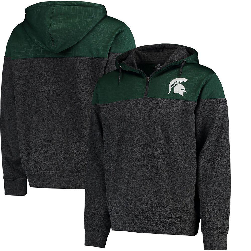 Men's Colosseum Green/Charcoal Michigan State Spartans Top Gun Quarter-Zip Pullover Hoodie