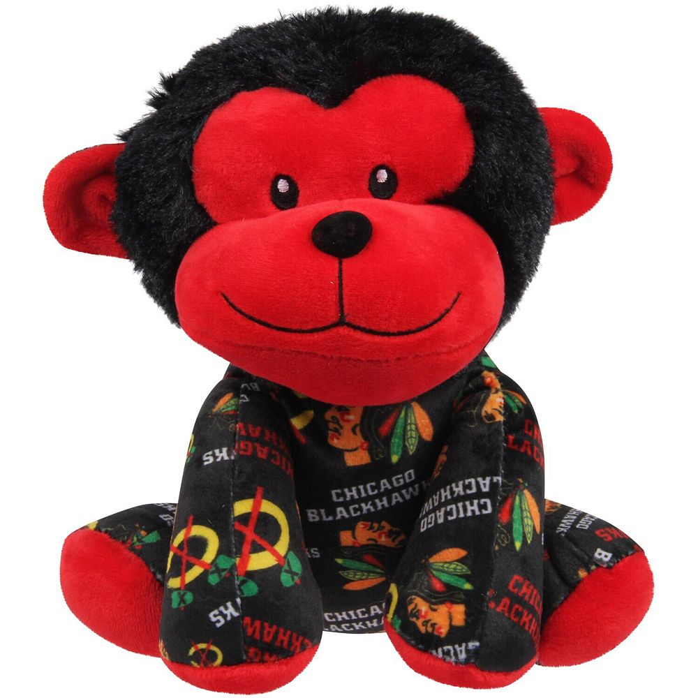 Youth Chicago Blackhawks All Over Print Seated Mitchie Monkey Plush Toy